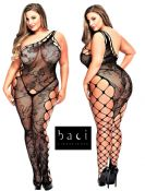Baci Lingerie [ UK 16 - 22 ] Queen Size Black Off Shoulder Style Open Bodysto...